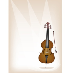 A Beautiful Double Bass on Brown Stage Background vector image