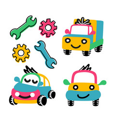 A set funny cars from 3 pieces vector