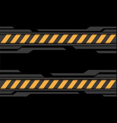 Abstract grey black cyber yellow line caution vector