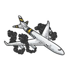 Airplane crash sketch engraving vector