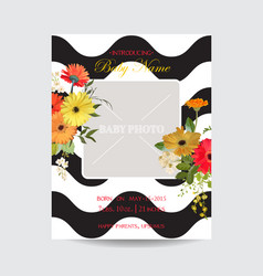 baby arrival summer and spring floral card vector image