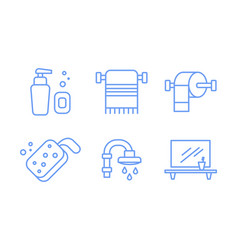 bathroom icons set soap dispenser towel holder vector image