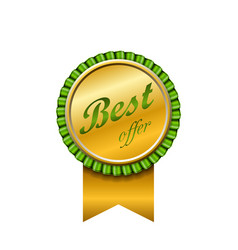 Best offer award ribbon icon gold sign isolated vector