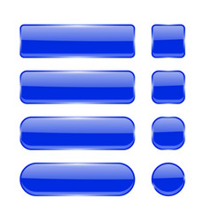 blue glass buttons collection of menu interface vector image