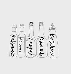 Bottles of sauce sketch vector