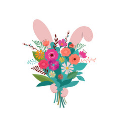 bunny is hiding behind the flower bouquet spring vector image