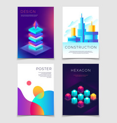 Business corporate layouts with typography and 3d vector
