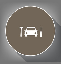 car tire repair service sign white icon vector image