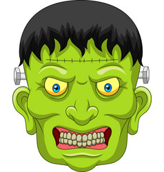 cartoon zombie head isolated on white background vector image
