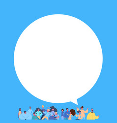 Casual people group chat bubble standing together vector