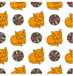 cat and wool cartoon animal seamless pattern vector image