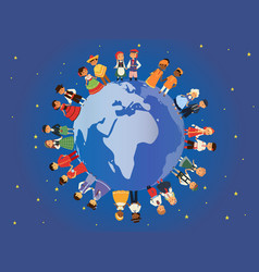 children different nationalities around earth vector image