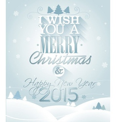 christmas with typographic design vector image