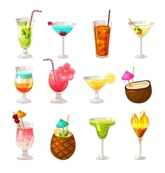 Club cocktails icons set vector