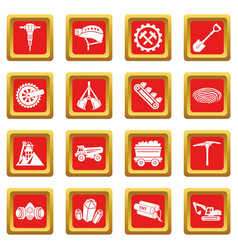 Coal mine icons set red square vector