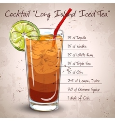 Cocktail Long Island Iced Tea vector image