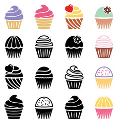 collection of black and white and colorful vector image