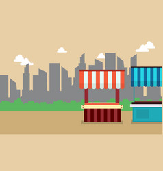 Collection of street stall design with building vector