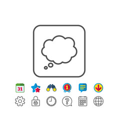 Comic speech bubble line icon chat sign vector