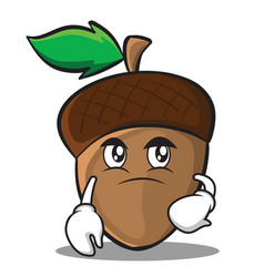 confused acorn cartoon character style vector image