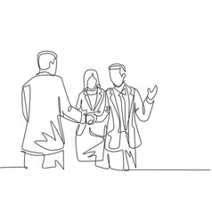 continuous line drawing business man handshake vector image