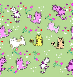 cute cat seamless pattern with flower on vector image