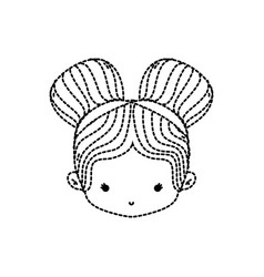 Dotted shape girl head with two buns hair design vector
