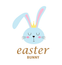 easter card with face bunny isolated on white vector image