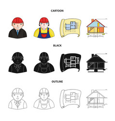Engineer-constructor construction worker site vector