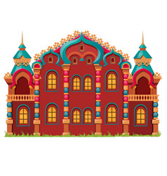 fairytale castle festively decorated isolated on vector image
