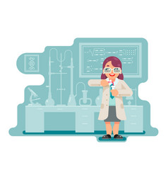 female experiment wise smart woman scientist vector image