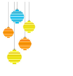 five pixel art christmas tree ball flat design vector image