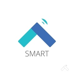 Flat smart home control logo house vector