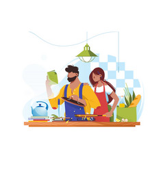 Flat young man and woman couple cooks together vector