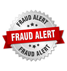 fraud alert round isolated silver badge vector image