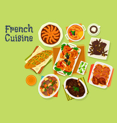 french cuisine festive dinner menu icon design vector image