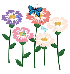 Fresh flowers with butterflies vector