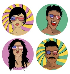 Girls and boys in sunglasses with US flag vector image