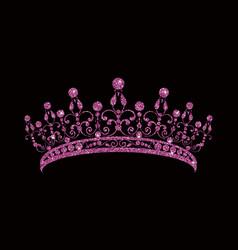Glittering diadem pink purple tiara isolated vector