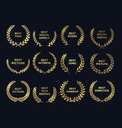 golden laurel or palm wreath leaf shapes winner vector image