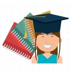 Graduate student with books isolated icon design vector