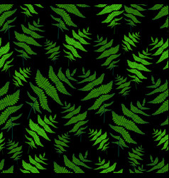 green fern leaf seamless wild forest pattern black vector image