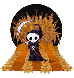 grim reaper on corn maze vector image