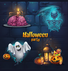 halloween party set items vector image
