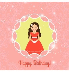 Happy Birthday card template with princess vector