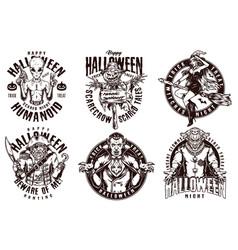 Happy halloween vintage badges vector