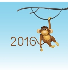 happy new year chinese monkey christmas card vector image