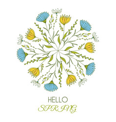 hello spring of a beautiful floral round art with vector image vector image