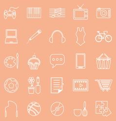 Hobline icons on orange background vector
