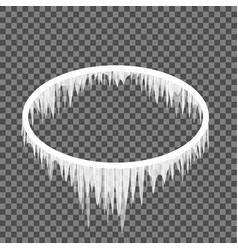 Icicles hanging from an oval frame vector